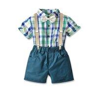 Boys Clothing Sets Boy Suit Children Wear Kids Clothes Summer Gentleman Short Sleeve Plaid Bow Tie Rompers Jumpsuit Suspenders Shorts Pants 2Pcs B7287