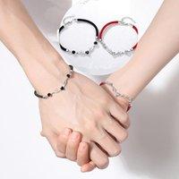 Charm Bracelets Red And Black Knot Rope Couple Bracelet Zircon Deer Elk For Elegant Women Christmas Party Jewelry
