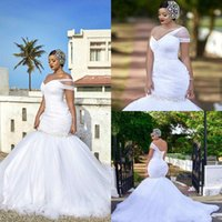 2021 One Shoulder Mermaid Wedding Dresses Crystal Beads Sweep Train Bridal Gowns White Plus Size Sleeveless Wed Dress Strapless Wedding Gown