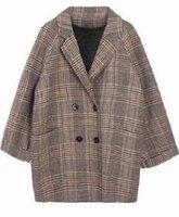 Cappotto di lana di plaid sciolto per le donne Giacche da donna Slim da donna Abbigliamento da donna autunnale coreano
