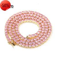 Collier à zircon rose de hip-hip sonner 4mm, chaîne de tennis polyvalente de mode pour hommes et femme