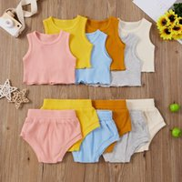 Summer 2021 Baby Girls Boys Clothing Born Infant's Solid Color Ribbed Crew Neck Vest+Elastic Waistband Shorts Two Piece Set Sets