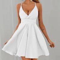 Sleeveless Mini Bandage Dress Summer Beach Dress Fashion Women Ruffle Sleeveless Solid Color Bandage Casual V-neck Sexy Dress