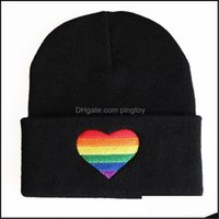 Caps Headwears Athletic Outdoor As Sports & Outdoorswomen Men Unisex Rainbow Heart Embroidery Knitted Hat Winter Autumn Pride Lgbt Outoodr H