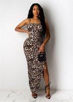 2021 Abiti Spaghetti Cinturino Colorful Womens Dre Estate senza maniche Spalato Leopard Sexy Ladies BodyCon D Designer Dres Dres Vo5996