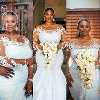 2021 Luxurious Arabic Aso Ebi Mermaid Wedding Dresses Sheer Jewel Neck Long Sleeves Crystal Beads Bridal Dress Sexy Vintage Weddings Gowns Chapel Train Plus Size