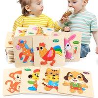 Giocattoli per bambini 3D Puzzle in legno Puzzle Giocattoli per bambini Fumetto Animale Puzzle Intelligence Bambini Primo formativo educativo Brain Teaser Giocattoli