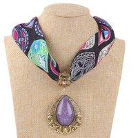 Floral Scarf Necklace Jewelry Pendants Decoration Cotton Resin Tassel Scarves Crystal Stone Boho Beach Shawl Wrap Foulard A40