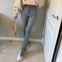 Streetwear Solid Sweatpants Tracksuit 여성용 스포츠 바지 높은 허리 측면 분할 패션 스키니 긴 바지 Y2K Capris 210319