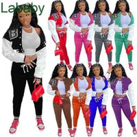 Women Tracksuits Two Piece Pants Designer Outfits Sweatsuits Sport Jogger Suist Fall Breasted Letter Printed Jackets Baseball Suit 9 Colours