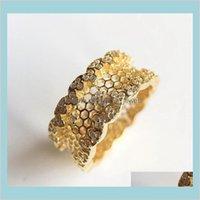 18k желтое позолоченное обручальное кольцо наборы оригинальные коробки для Pandora 925 стерлингового серебра сотовые сотовые кружевные кольца женские девушки подарочное кольцо DKAV8 BNXH9