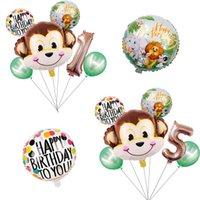 Party Decoration 1set Cartoon Animal Brown Monkey Air Helium Balloon Zoo Safari Farm Theme Birthday Decorations Kids Baby Shower Toy