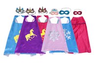 27inch double sided costumes cape for kids with felt mask Satin carton dressing up cosplay capes party favors birthday gifts