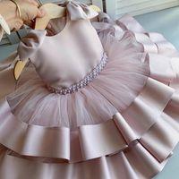 Sommer Baby Mädchen Kleid 1. Geburtstagsfeier für Prinzessinkleider Große Bogen Infant Taufe Kleidung Kleinkind Kleid Mädchen