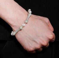"11mm Wide Men's Bone Style Link 18 "" Long Chain 8 "" Length Bracelet in 14k Yellow Gold Plated Diamond Cubic Zirconia Jewelry"