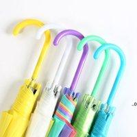 어린이 투명성 우산 긴 손잡이 우산 다채로운 파라솔 무지개 접는 어린이 우산 아이 비 바다 운송 FWD95