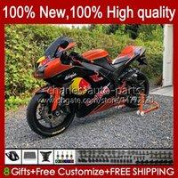 Karossywork för kawasaki ninja zx 636 600 cc zx600 zx-636 zx-600 motorcykel kropp 10no.203 zx 6r 600cc 6 r zx6r 07 08 ZX-6R ZX600C 2007 2008 ZX636 07-08 Fairing Kit Orange Red