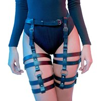 Womens Leg Harness Caged Thigh Holster Garters Harajuku Waist Gothic Rings Belt for Rave Outfits