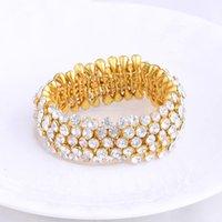 Brand Designer Luxury Crystal Diamond Elastic Bracelet for Women Lady Fashion Rhinestone Bracelets 18K Gold Plated Bangle Wedding Jewelry