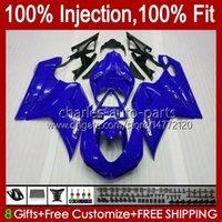 Injection Fairings For DUCATI 848 1098 1198 S R 848R Glossy blue 1198R Bodywork 18No.16 848S 1098S 2007 2008 2009 2010 2011 2012 1098R 1198S 07 08 09 10 11 12 OEM Body Kit