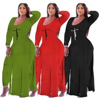 Plus Size Tracksuits Women's Clothing Sexy X-Long Split Fork Tops Tight Pants Two Piece Sets 3xl 4xl 5xl Track Suit Matching Set