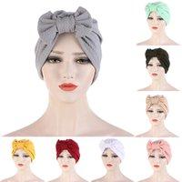 Fashionable All-match Turban Cap For Women Girls Solid Color Muslim Bonnet Women Big Bowknot Stretch Hijab Turban Hat