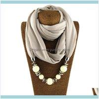 Pendentif Colliers Pendentifs 10 couleurs Mode Echarpe Beads Pending Bijoux Déclaration Maxi Collier Femmes Muffler Necklerfief Bijoux1 Drop De