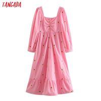 Casual Dresses Tangada 2021 Fashion Women Pineapple Embroidery Romantic Long Dress Puff Sleeve Square Collar Ladies Vintage 2W70