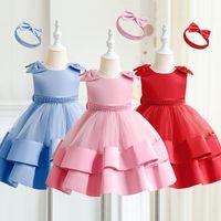 Girl's Dresses Born Baby Girls Baptism 1st Birthday Toddler Bownot Elegant Party Gown For Wedding Vintage Christening Infant Vestido
