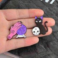 수제 바늘 크리스탈 볼 나쁜 검은 고양이 마녀 두개골 레트로 에나멜 핀 브로치 배지 장식 카우보이 할로윈