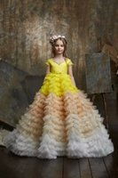 Amazing Flower Girl Dresses Multilayered Ruffles Beads Birthday Party Wear For Wedding Sleeveless Floor Length Little Baby Pageant Gowns