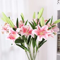 Decorative Flowers & Wreaths 3 Heads Artificial Touch Feel Lily Wedding Home Decoration Flower Plants Simulation Potted
