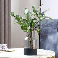 Dekorative Blumen Kränze Simulation Blumenschmuck Blaubeer Beere Fake Obst Zweig Indoor Desktop Blumenstrauß Home Esstisch TV CABI