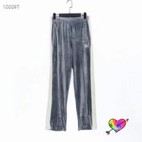 2021 Velvet Pants Men Women High Quality Embroidered Sweatpants Grey Straight Trousers
