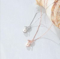 S925 sterling silver full diamond fishtail pendant Necklace for ladies with Japanese and Korean edition sweet fashion mermaid freshwater pearl