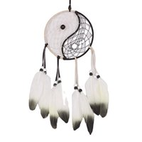 Schwarz und Weiß Tai Chi Dream Catcher für Hahnfeder Handgemachte Handwerk mit Home Decoration Feng Shui Art Nautical Style Dekorative Objec