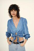 Summer Blue Knot Hanging Shirt Zaraing Women 2021 Sheining Vadiming Zanzeaing Zafuler Female Blouse Wd87256 Women's Blouses & Shirts
