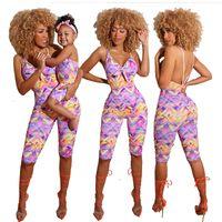 Trajes de coincidencia familiar Girls Wave Impreso Mono Madre Arco Backless Suspender Shorts Pantalones Pantalones Mamá Mamá y Ropa A6789