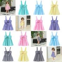 Kids Girl's Summer Striped Skirt Baby Girls Slip Dress Lovely Sleeveless Big Bowknot Princess Dresses For Children Party Clothes G55L3NA