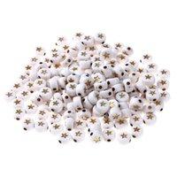 400/200 Stück Weiß- und Goldsterne Acryl Runde Perlen für Schmuckherstellung 7x3mm YKL0811 1708 Q2