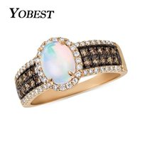 Wedding Rings YO 2021 Fashion Gold Color Fire Opal Ring Jewelry For Women Black And White Cubic Zirconia Engagement