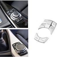 Autoinnenraum ABS-Kunststoff Multimedia Buttons Dekosteuerabdeckung Trim-Aufkleber Zubehör Fit für BMW X1 X3 X4 X5 1 2 3 4 5 7 Series AUTO STYLING