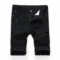 Jeans corto oversize Uomo Biker Dritto Zipper Pocket Jeans Jeans Denim Short Distressed Pleated Men Strappato Lavato Hip Hop Q2No #