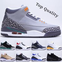 Casual Sports 3s Basketball Shoes Top Fashion Pine Green Canvas Fire Red Fragment Design Racer Blue Cool Grey Black Cat III Mens Outdoor Trainers Sneakers