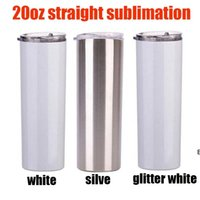 3 style 20oz sublimation straight skinny tumbler silver white and glitter slim cup with metal straw vacuum travel mug gifts sea way DHA5249