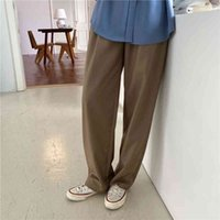 Women's Pants & Capris High waist fashion button Korean woman's pants down solid straight ladies thin women's leg NA9F