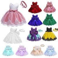 Baby Girls White Baptism Dress Newborn Princess Birthday Wear Toddler Flower Christening Ball Gown Kids Dresses for Girls 12 24M 2336 V2