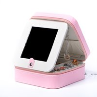 Frauen PU Jewelry Aufbewahrungsboxen mit Spiegel Square Jewelrys Sammlungen Organizer Ohrstecker Halskette Ring Box Reise FWD6490
