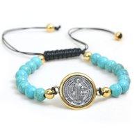 Catholique réglable Corde Saint Benedict Rosaire Turquoise Bracelet Perles Bracelet Prier Perles Bracelet