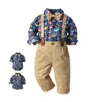 Baby Clothing Sets Boys Suits Infant Outfits Kids Clothes Gentleman Dress Spring Autumn Cotton Long Sleeve Rompers Suspenders Trousers Pants 2Pcs B7266